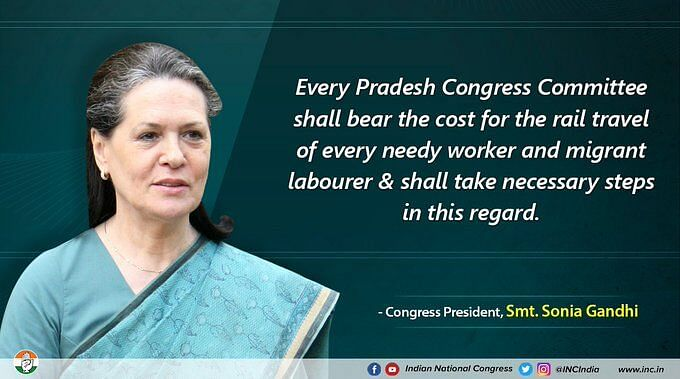Congress will bear cost of rail travel for migrants and needy workers: Sonia Gandhi