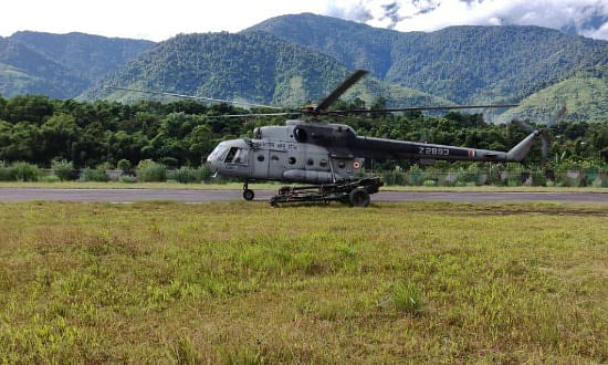 Mi-17 Helicopter emergency landing at sikkim