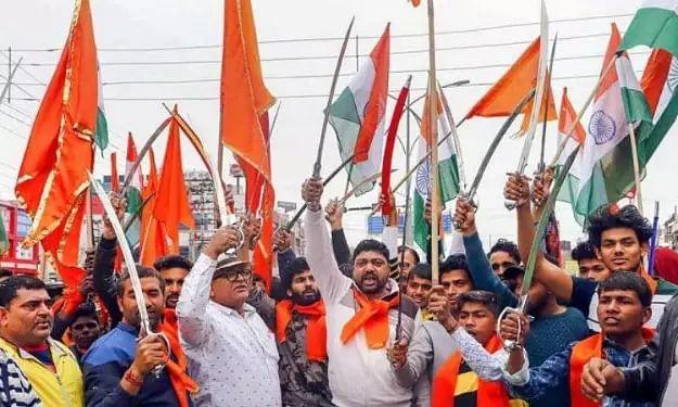Hindu Sena members march in Gurugram, raise slogans