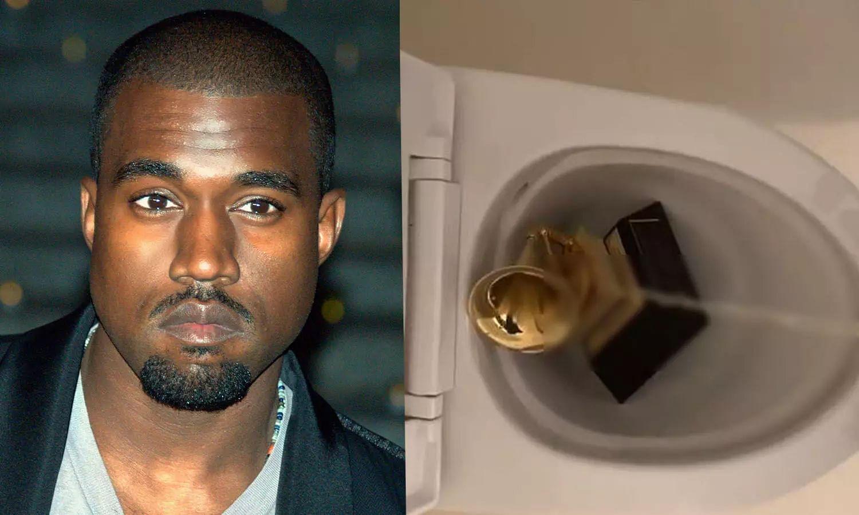 American rapper Kanye West pisses on his Grammy Award, video goes viral