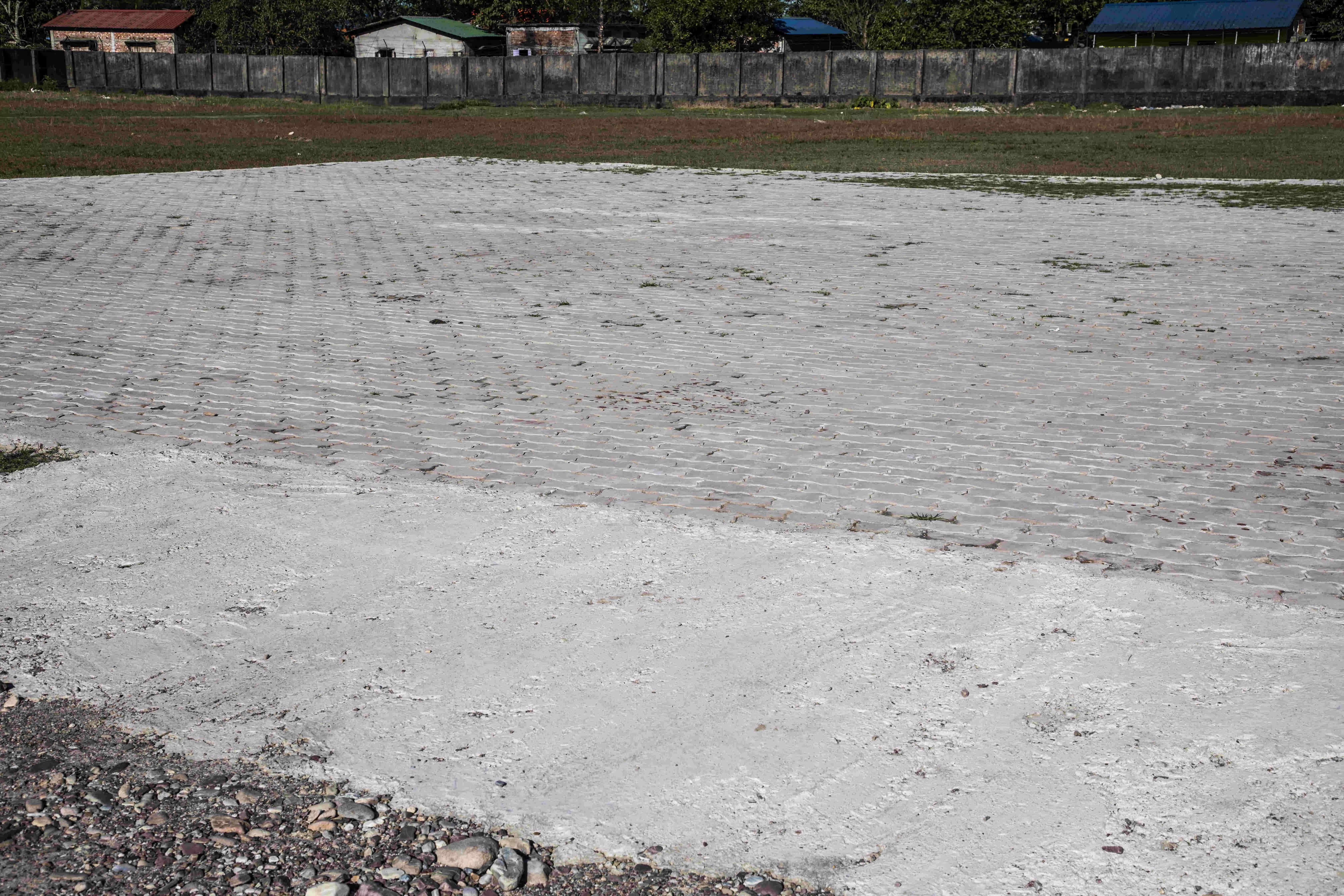 Concrete helipad on cricket pitches ! ACA shocked
