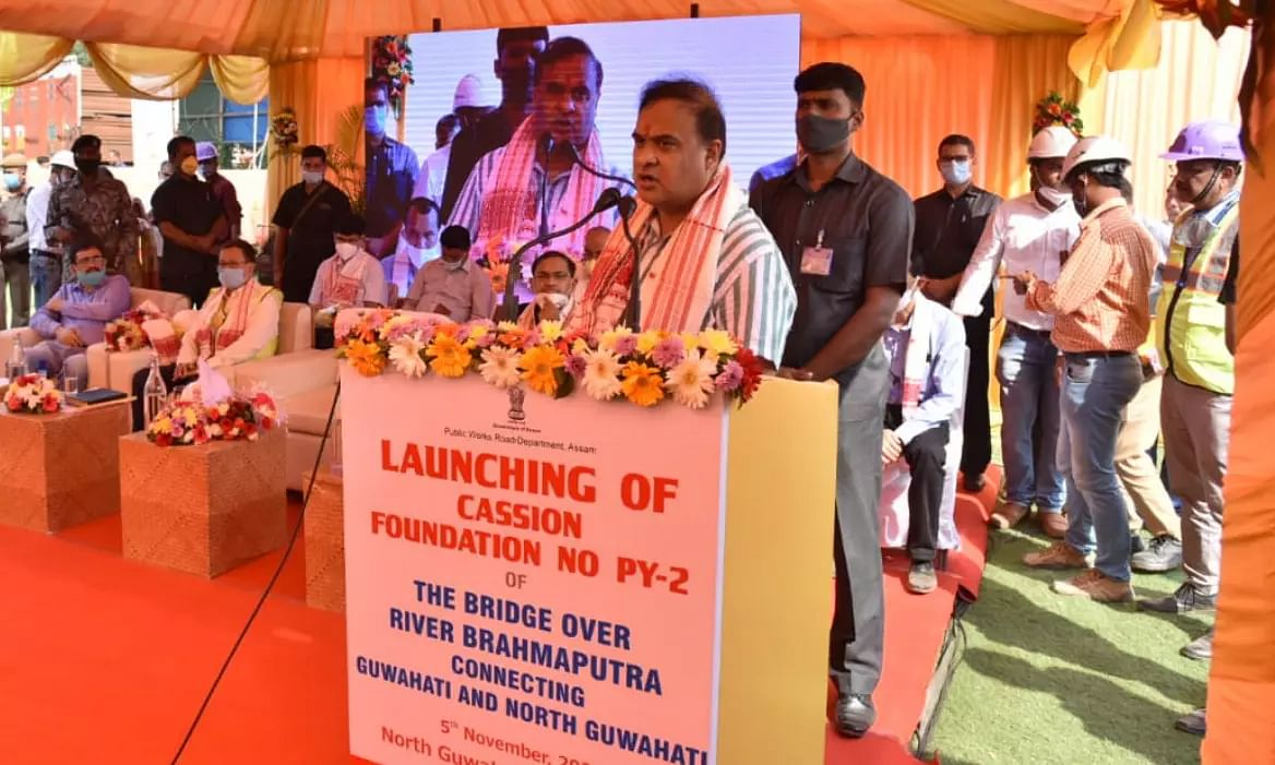 Himanta Biswa Sarma attends launch of pier foundation of bridge