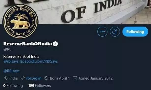 RBI becomes the Worlds first monetary authority to win one million Twitter followers