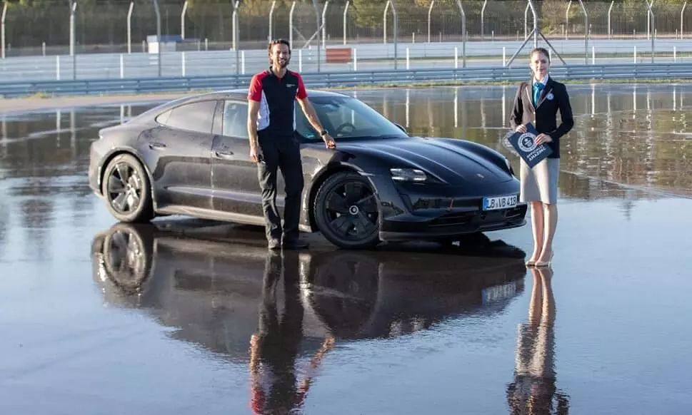 Porsche Taycan EV sets Guinness World Record for longest drift with an electric vehicle