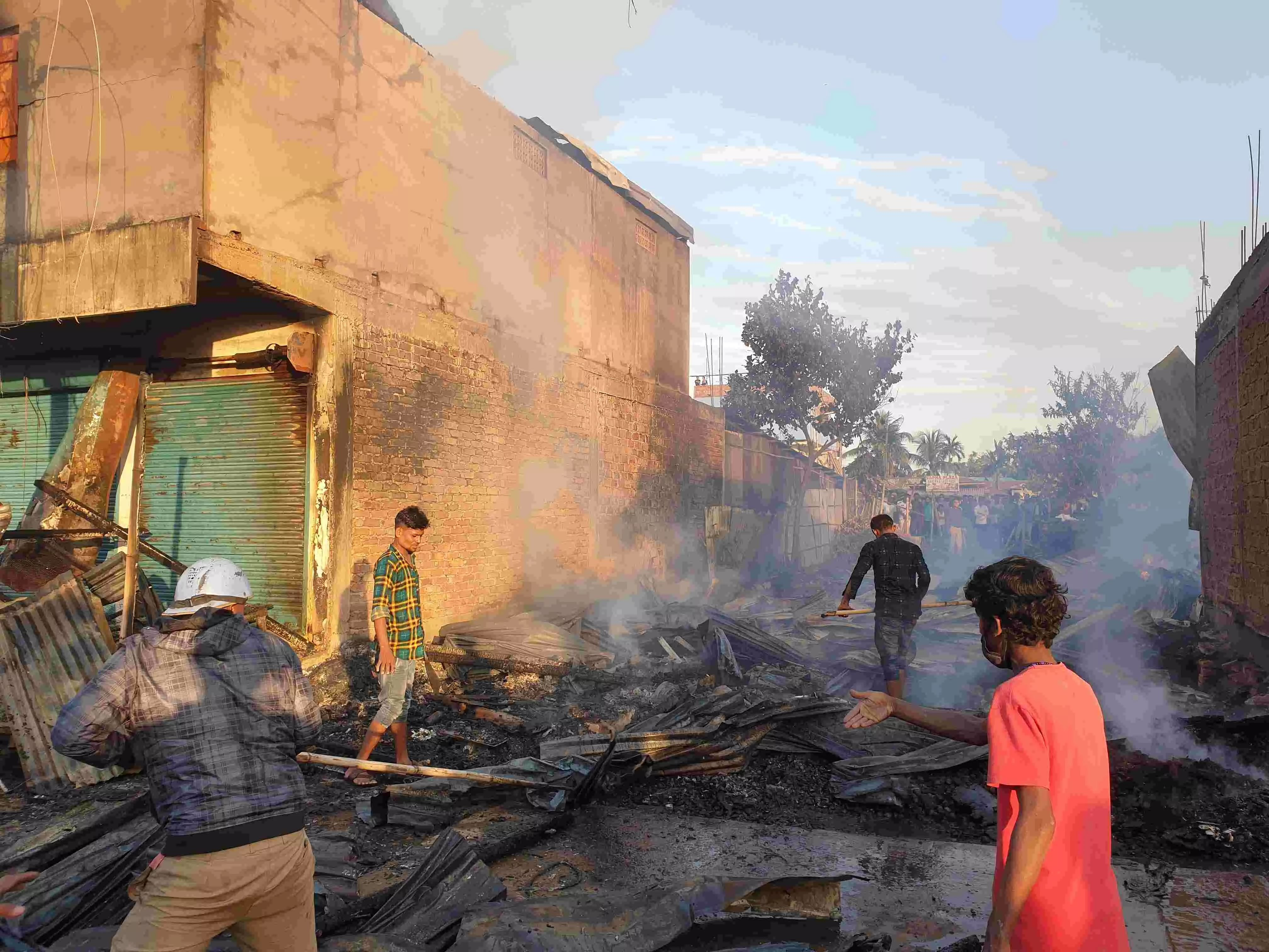 Five shops gutted, property worth crores destroyed in fire at Bokajan