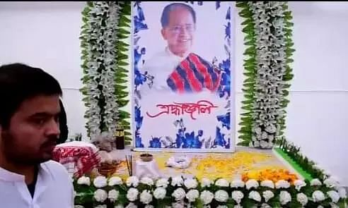 Ashes of  former Assam CM Tarun Gogoi immersed in Biswanath ghat