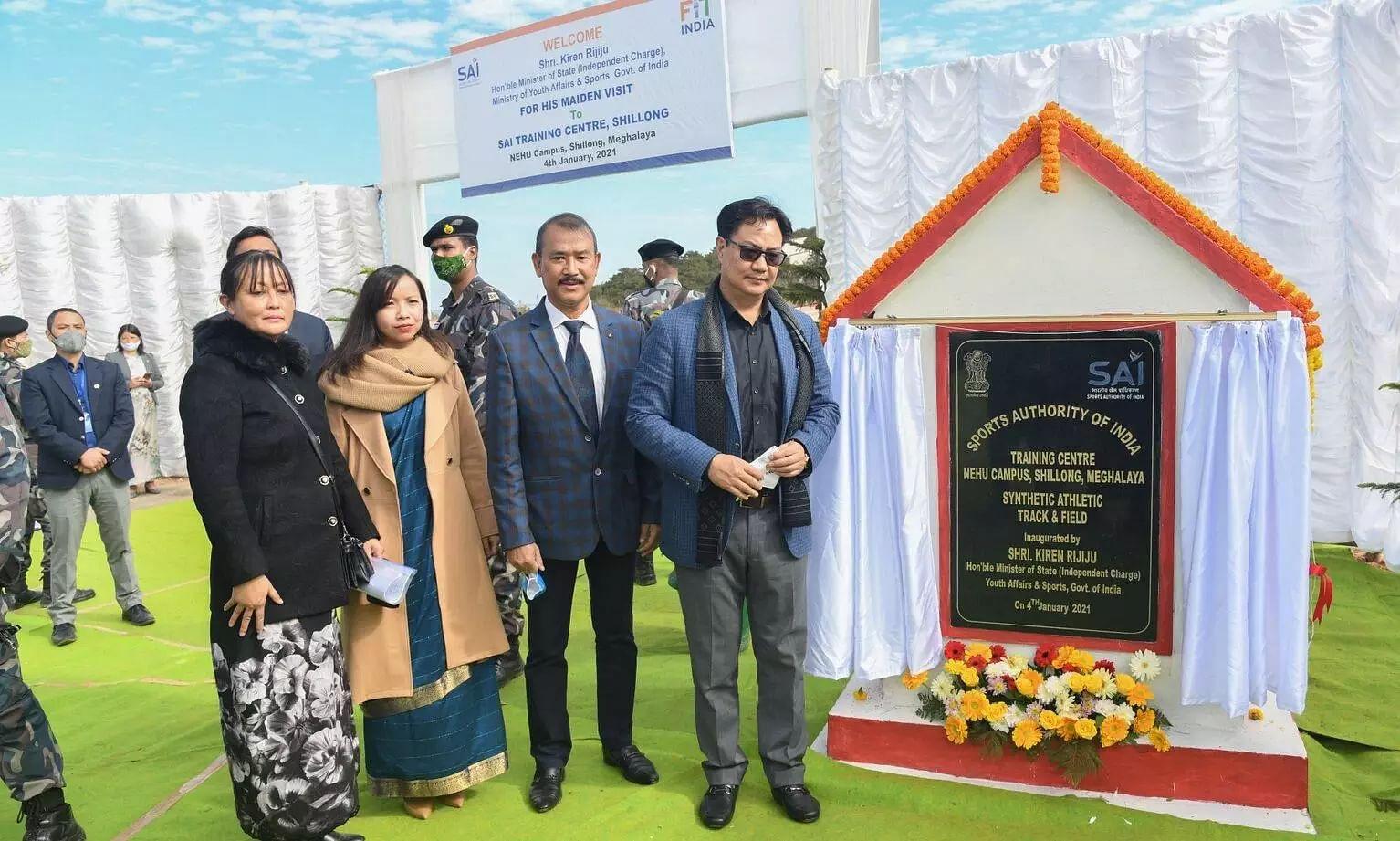 Union Minister Kiren Rijiju inaugurates Synthetic Football Ground in SAI, Shillong