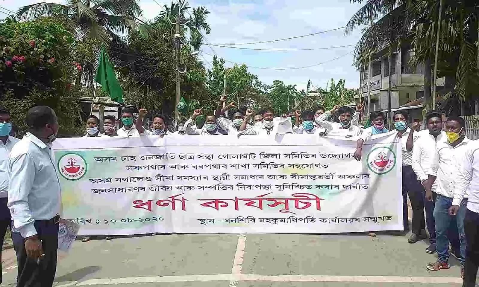 Massive protest by ATTSA over Assam-Nagaland border issue