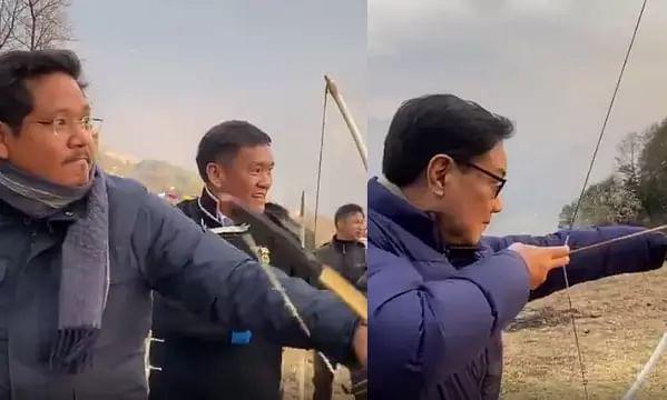 WATCH   Meghalaya CM Conrad Sangma, Arunachal CM Pema Khandu & Kiren Rijiju Tries Archery