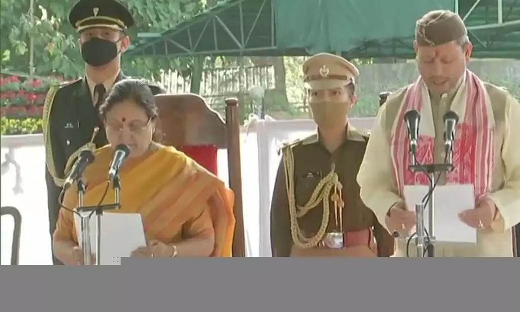 Tirath Rawat sports Gamusa while taking oath as the New Chief Minister of Uttarakhand