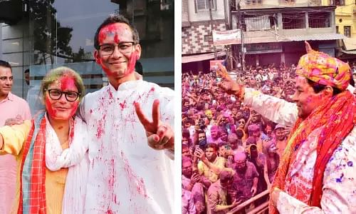 Amid Campaigning for Second Phase, Politicians Celebrates Holi with Common People
