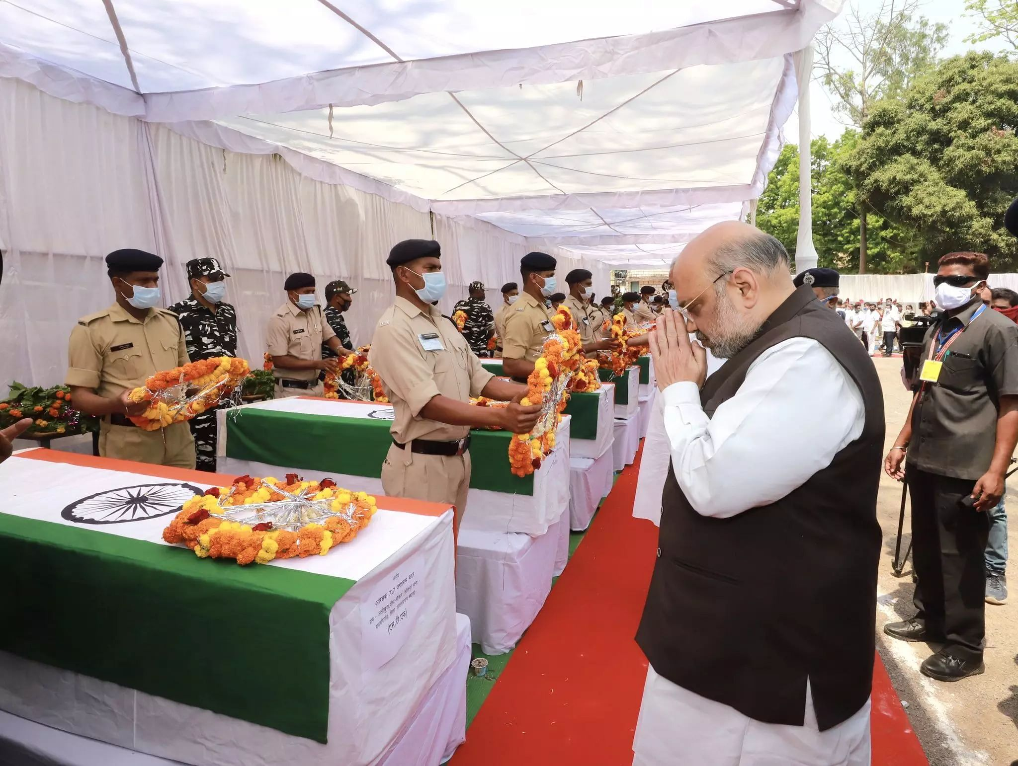 Amit Shah pays respect to martyrs killed in Naxal Attack in Chhattisgarh, to hold high-level meet