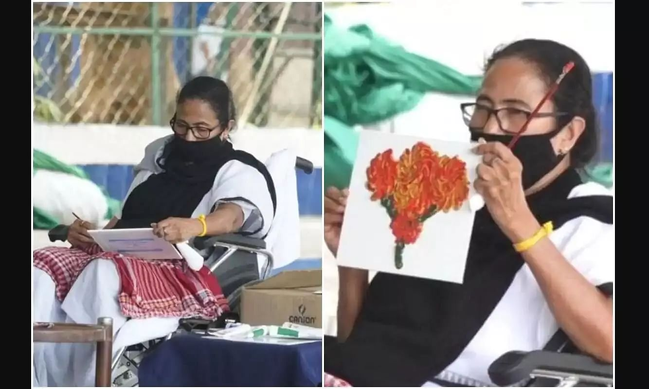 WB CM Mamata Banerjee Holds Dharna Against ECs Campaigning Ban, Resorts to Painting