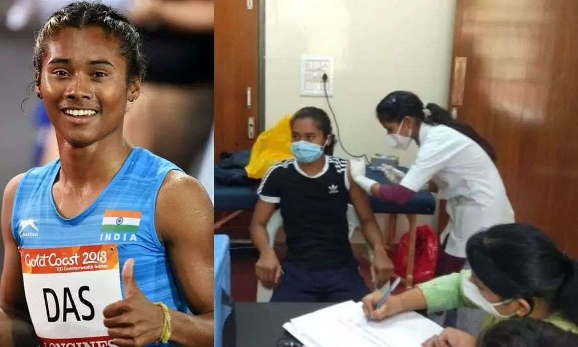 Assams Ace Athlete Hima Das Takes Her First Dose of COVID Vaccine