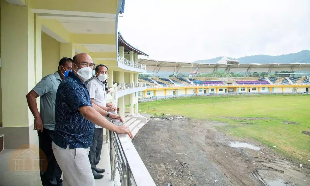 Manipur CM Biren Singh Inspects Newly Constructed Pavilion of Luwangpokpa Multi-Sports Complex