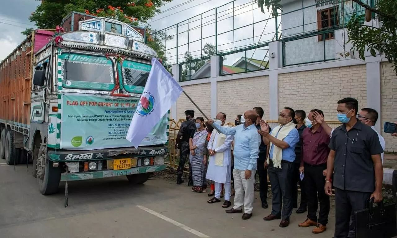 Manipur CM N Biren Singh Flags Off Export Of 10 MT Chak-Hao Rice To Europe